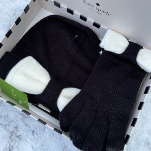 Kate Spade Color Block Beanie and Glove Set